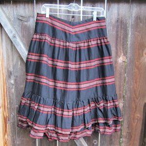 Zara Woman Wool Black Striped Gypsy Skirt